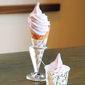 Lavender white chocolate soft-serve ice cream